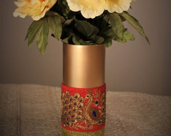 Enameled Peacock Design Brass Flower Vase
