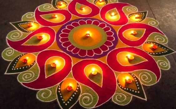 Use rangoli with diyas
