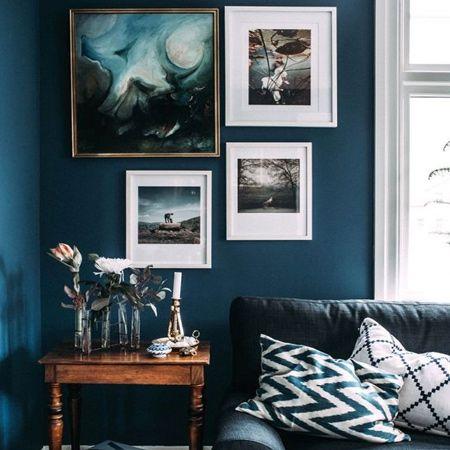 dark cobalt paint in living room