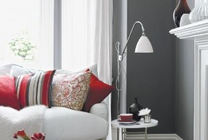 use a gray and red combination