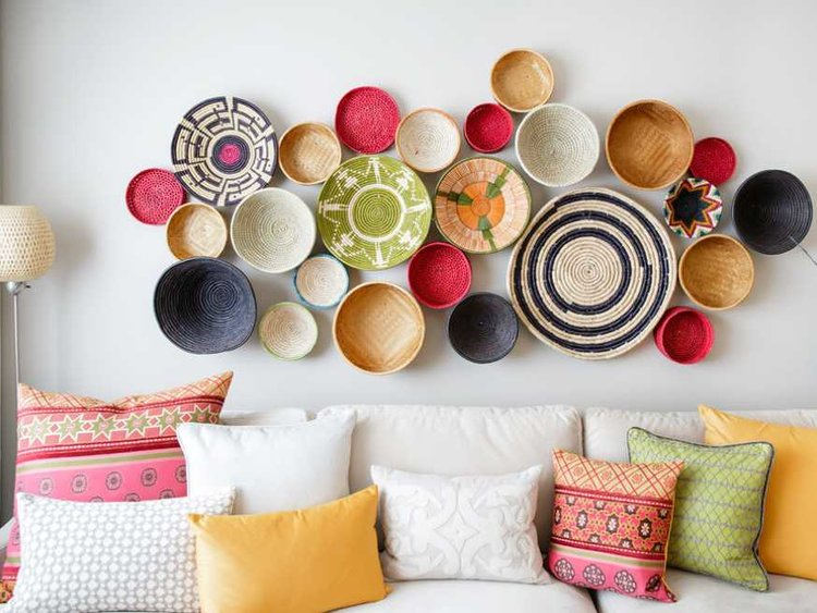 use cluster colorful baskets
