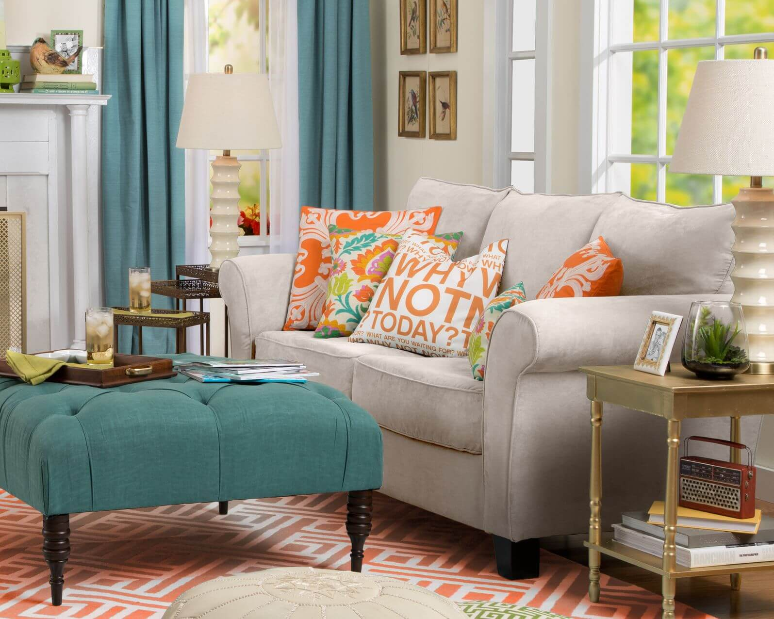 use ottomans in your living room