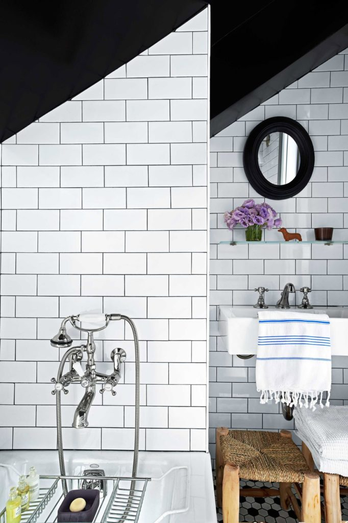 Gray-grouted subway tiles