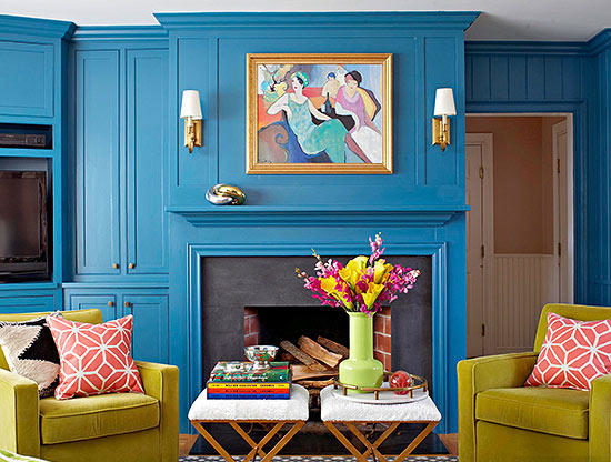 bold blue paint walls