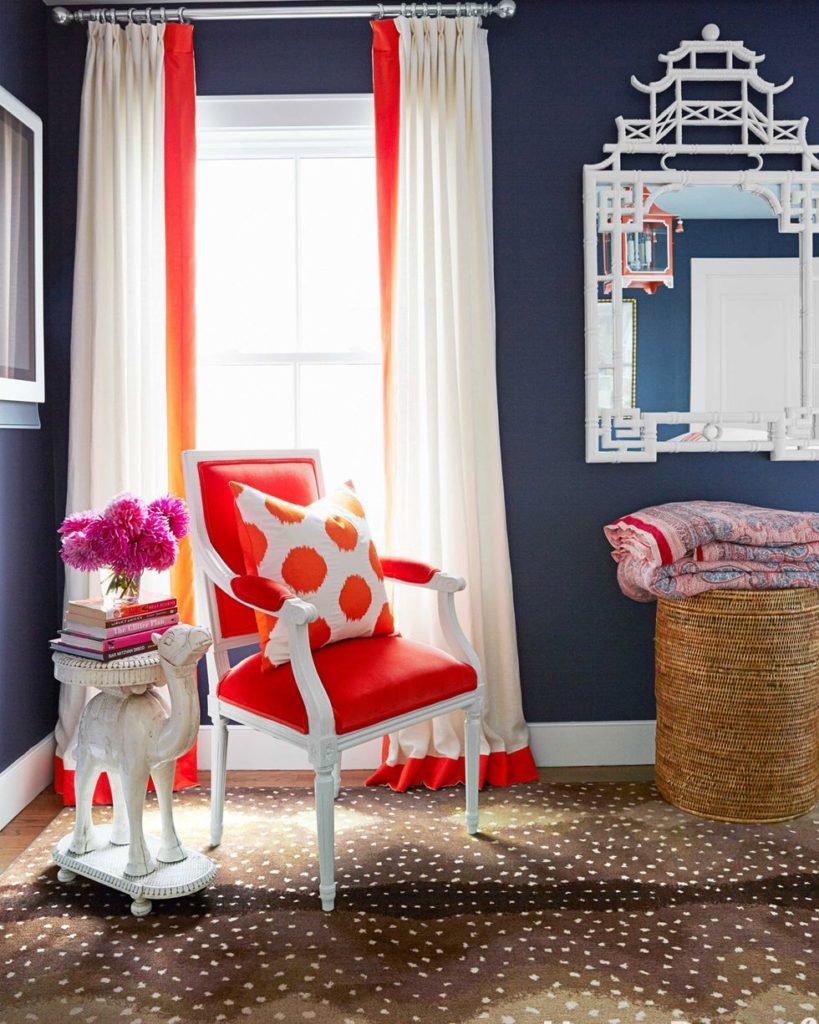 orange shade curtain