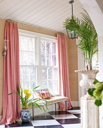 pink linen shades curtains