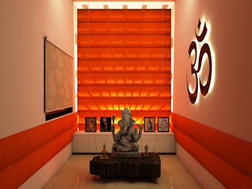 orange light   mandir decoration ideas