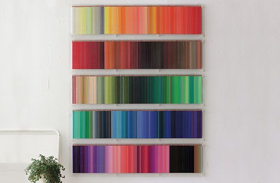 colored pencil wall display | DIY art
