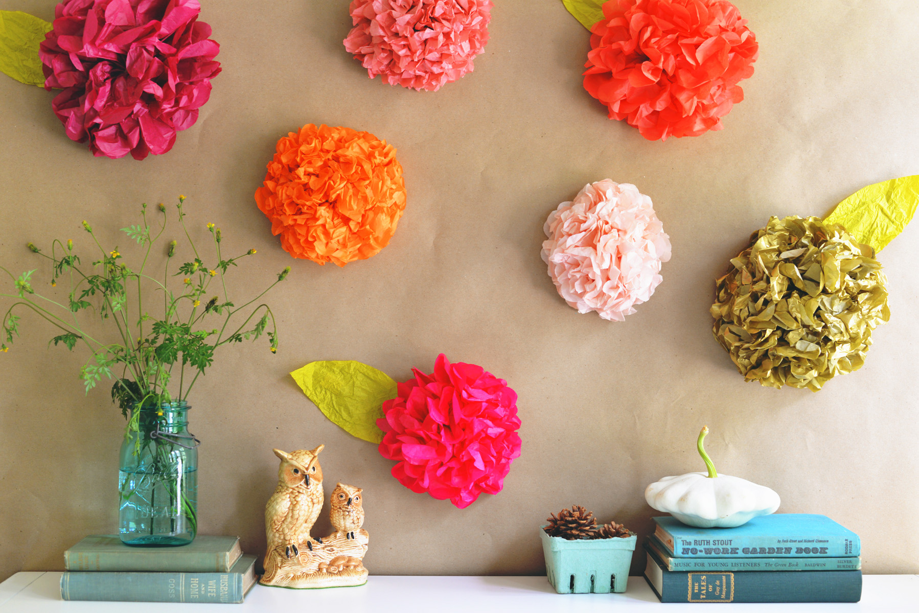 tissue paper flowers art | DIY art