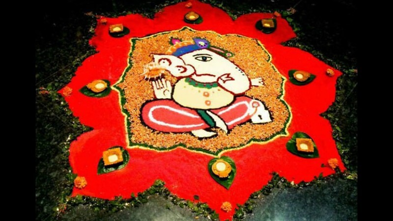 Ganesh Decoration Using Colorful Rangolis