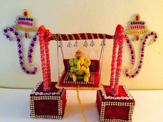 Ganpati Decoration on Swing
