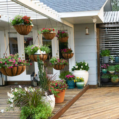 Hang Planters with a Wooden Awning exterior windows