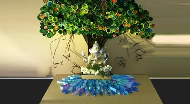 Adorn Ganpati Mandap With Peacock Feathers