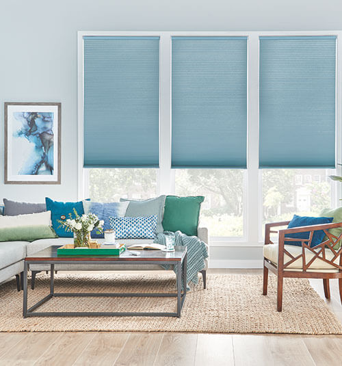 Levolor Light filtering cellular arched curtains