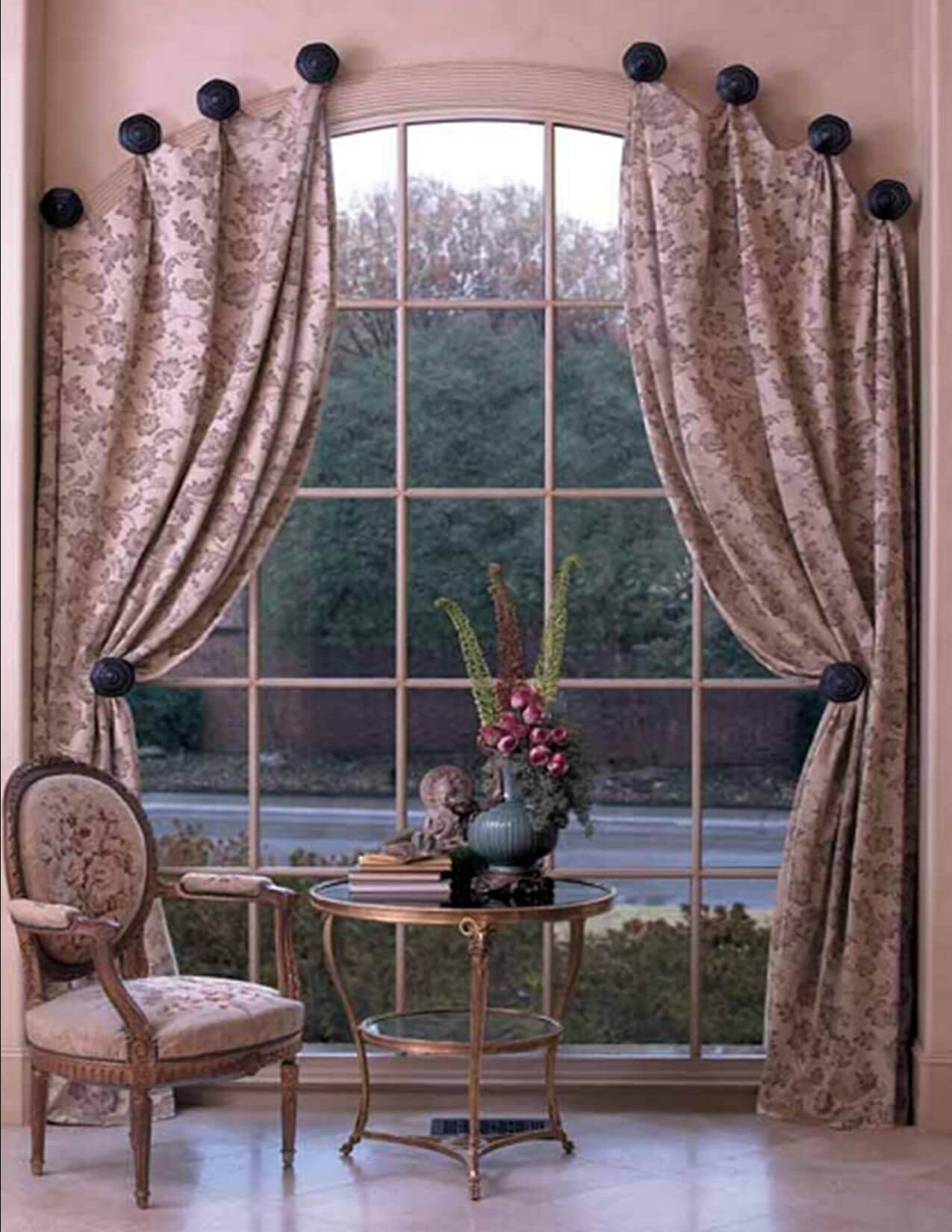 Pom-Pom tieback curtains