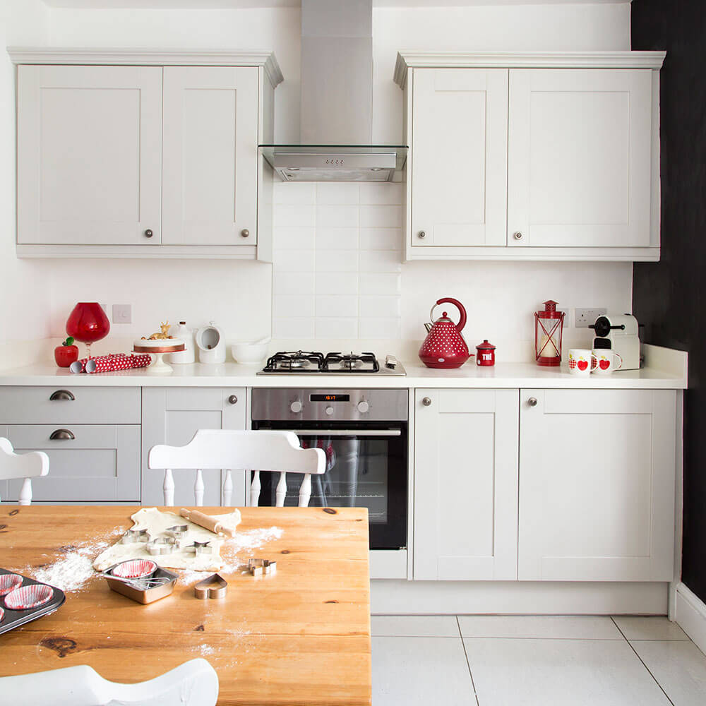 All White Kitchen With Vibrant Accents
