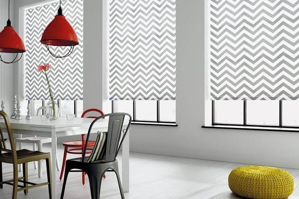 Roller blinds on the