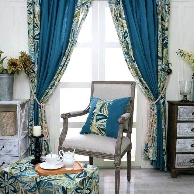 Classic curtains and drapes in blue tones