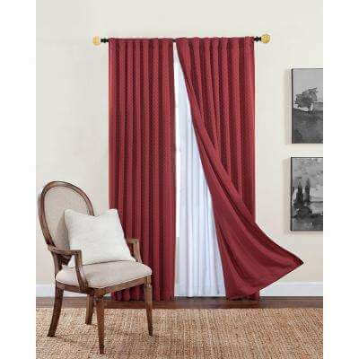 Modern Red and White Curtain for arched window